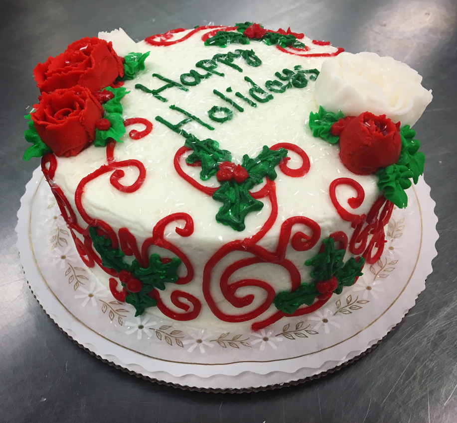 Red Scroll Holiday Cake