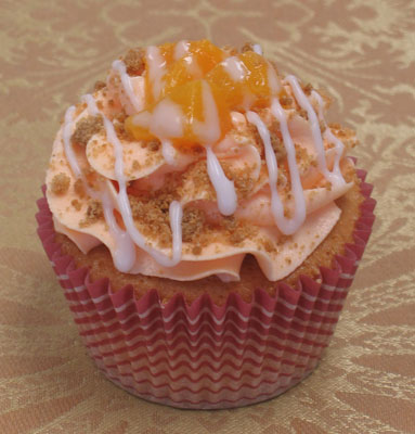 ... peach cobbler cupcake peach cupcake filled with whole peach